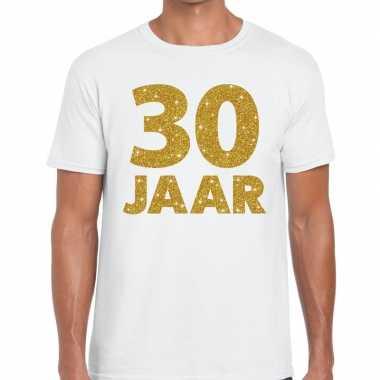 Jaar goud glitter verjaardag jubileum kado shirt wit heren 10154831