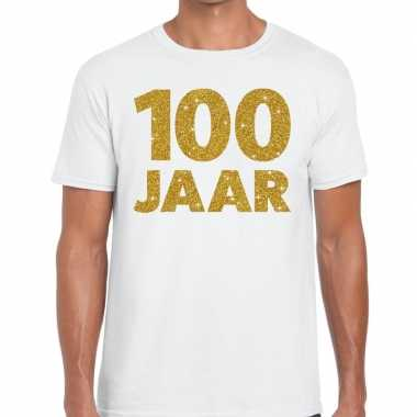 Jaar goud glitter verjaardag jubileum kado shirt wit heren 10154845