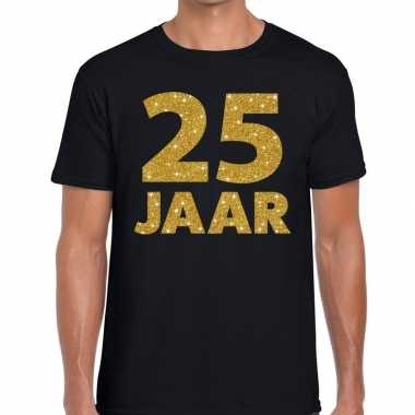 Jaar goud glitter verjaardag/jubilieum kado shirt zwart heren