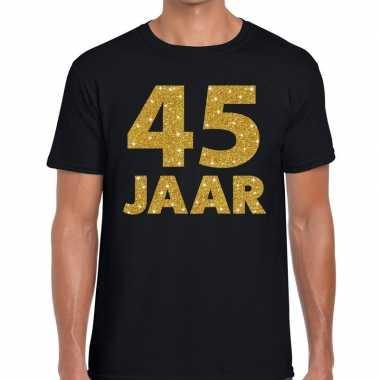 Jaar goud glitter verjaardag jubilieum kado shirt zwart heren 10154667