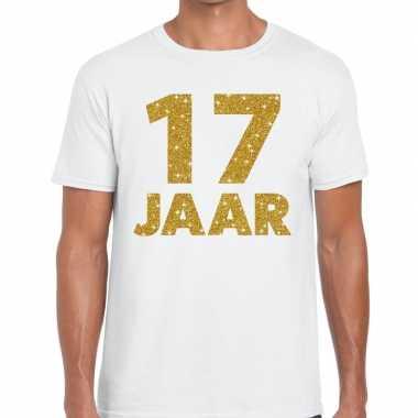 Jaar goud glitter verjaardag kado shirt wit heren 10154832