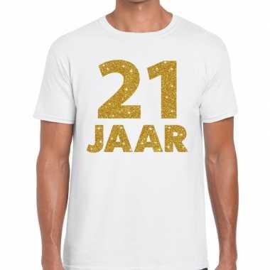 Jaar goud glitter verjaardag kado shirt wit heren 10154834