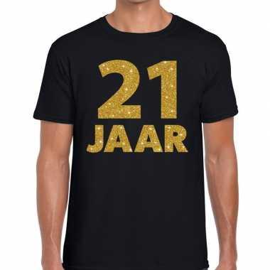 Jaar goud glitter verjaardag kado shirt zwart heren 10154655