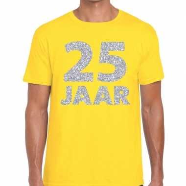Jaar zilver glitter verjaardag/jubilieum shirt geel heren
