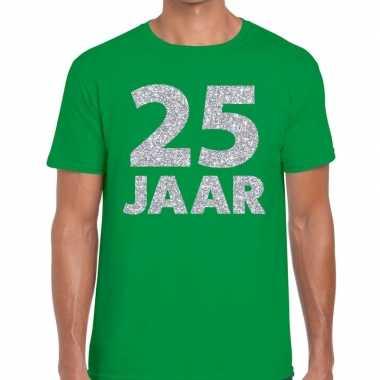Jaar zilver glitter verjaardag/jubilieum shirt groen heren