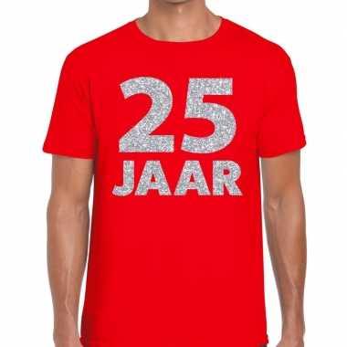 Jaar zilver glitter verjaardag/jubilieum shirt rood heren