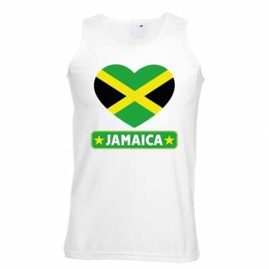 Jamaica hart vlag singlet shirt/ tanktop wit heren