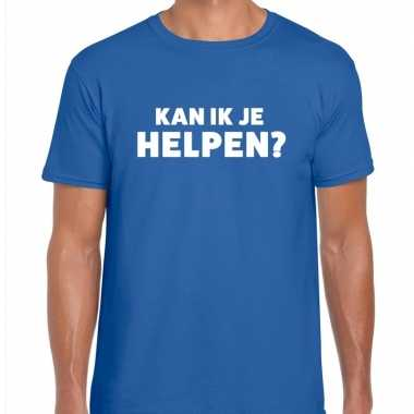 Kan ik je helpen beurs/evenementen t shirt blauw heren