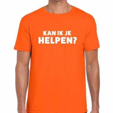 Kan ik je helpen beurs/evenementen t shirt oranje heren