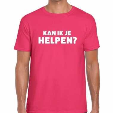 Kan ik je helpen beurs/evenementen t shirt roze heren
