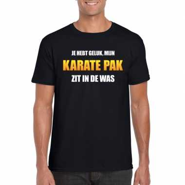 Karatepak zit was heren carnaval t shirt zwart