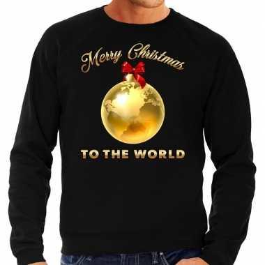Kersttrui merry christmas to the world goud glitter zwart heren shirt