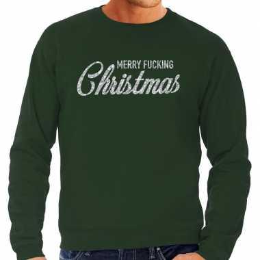 Kersttrui merry fucking christmas zilver glitter groen heren shirt
