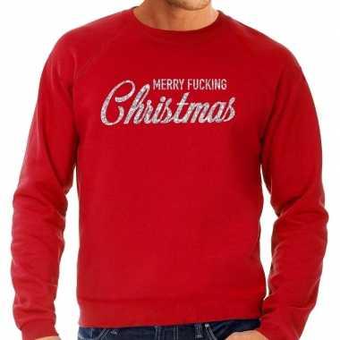 Kersttrui merry fucking christmas zilver glitter rood heren shirt