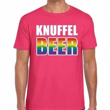 Knuffel beer gaypride t shirt roze heren