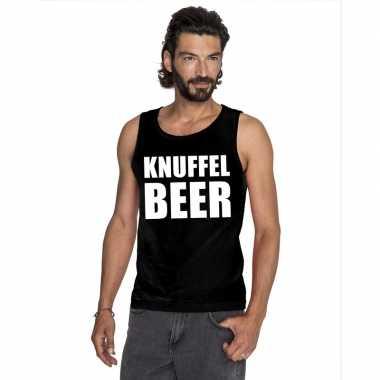Knuffel beer tekst singlet shirt/ tanktop zwart heren