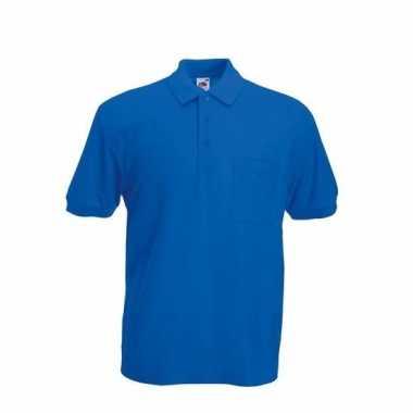 Kobaltblauw poloshirt korte mouw heren