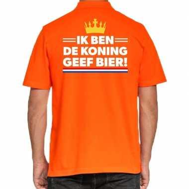 Koningsdag poloshirt geef bier oranje heren