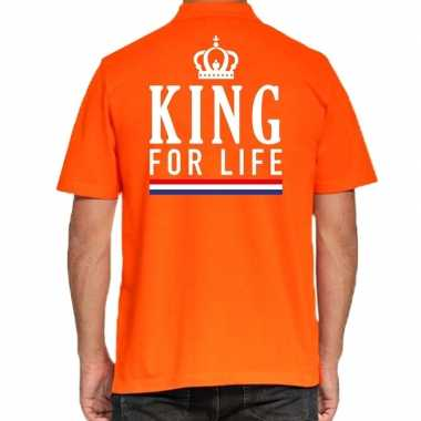 Koningsdag poloshirt king for life oranje heren
