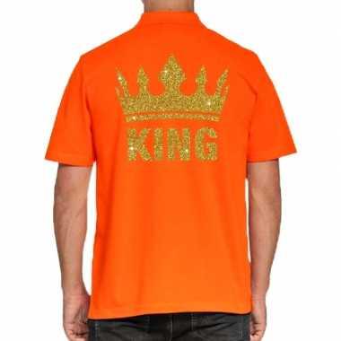 Koningsdag poloshirt king goud glitter oranje heren