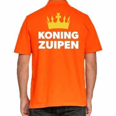 Koningsdag poloshirt koning zuipen oranje heren