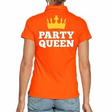 Koningsdag poloshirt party queen oranje heren