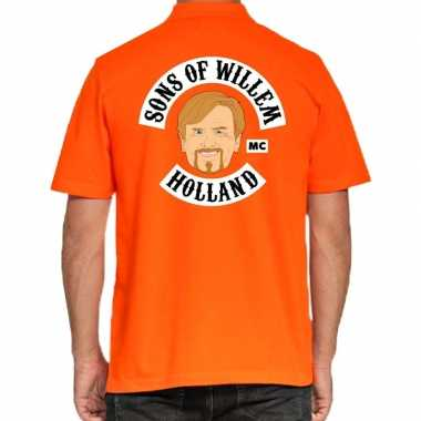 Koningsdag poloshirt sons of willem holland oranje heren