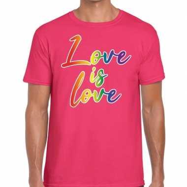 Love is love gaypride t shirt roze heren