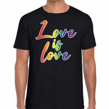 Love is love gaypride t shirt zwart heren