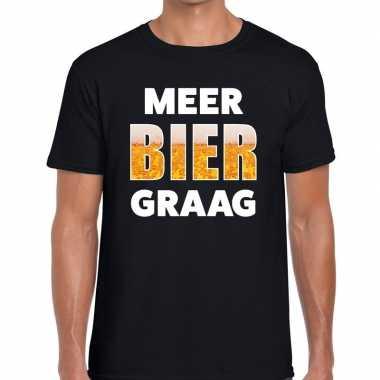 Meer bier graag tekst t shirt zwart heren