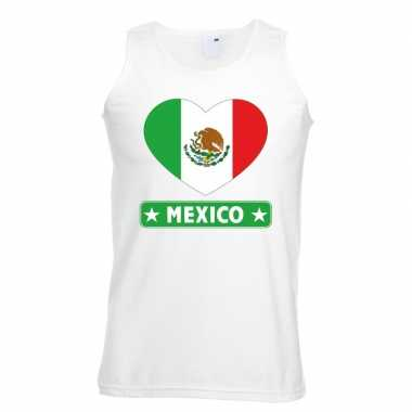 Mexico hart vlag singlet-shirt tanktop wit heren
