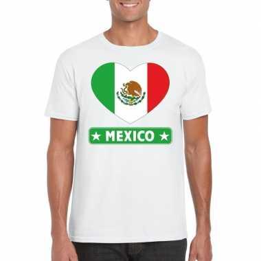 Mexico hart vlag t-shirt wit heren