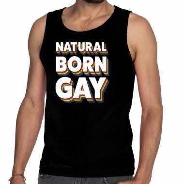 Natural born gay pride tanktop/mouwloos shirt zwart heren