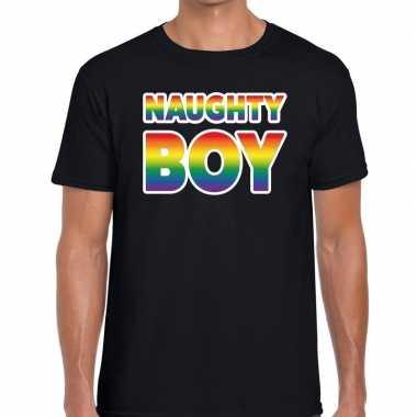 Naughty boy gaypride t shirt zwart heren