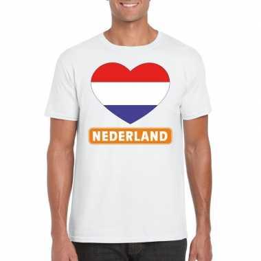 Nederland hart vlag t shirt wit heren