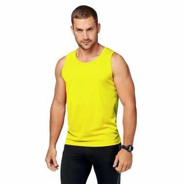 Neon geel sport singlet heren shirt