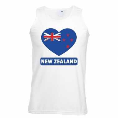 Nieuw zeeland hart vlag singlet shirt/ tanktop wit heren