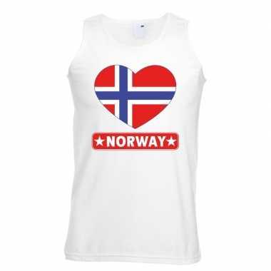 Noorwegen hart vlag singlet shirt/ tanktop wit heren