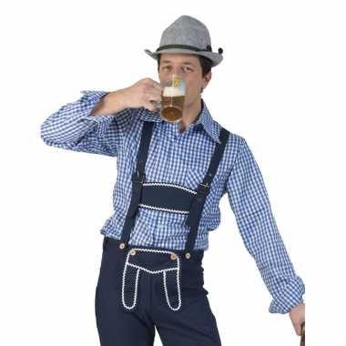Oktoberfest blauw/wit geruit tiroler verkleed overhemd heren shirt