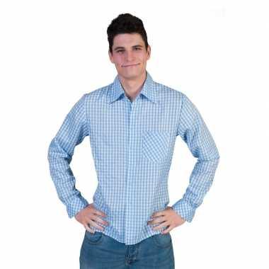 Oktoberfest blauwe geruite blouse heren shirt