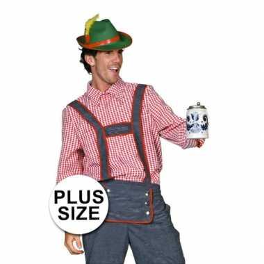 Oktoberfest Grote maten Tiroler blouse heren shirt