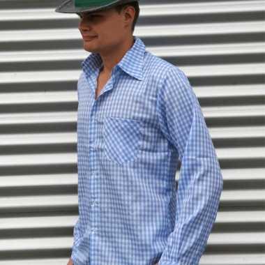 Oktoberfest tiroler blouse blauw heren shirt