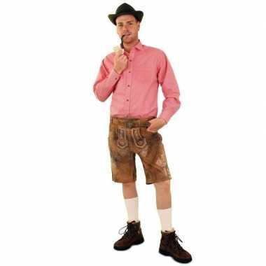 Oktoberfest tiroler blouse rood/wit geblokt heren shirt