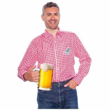 Oktoberfest tiroler blouse rood wit heren shirt