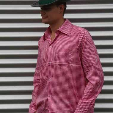 Oktoberfest tiroler blouse roze heren shirt