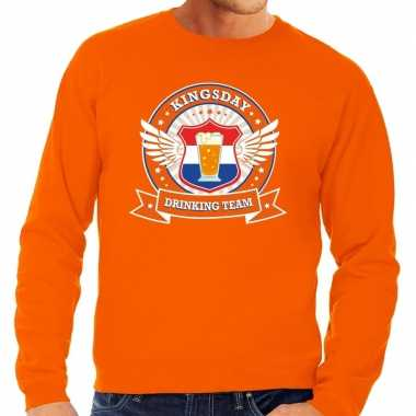 Oranje kingsday drinking team sweater heren shirt