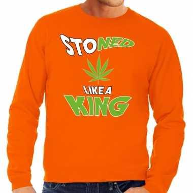 Oranje koningsdag stoned like a king sweater heren shirt