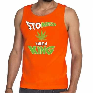 Oranje koningsdag stoned like a king tanktop heren shirt