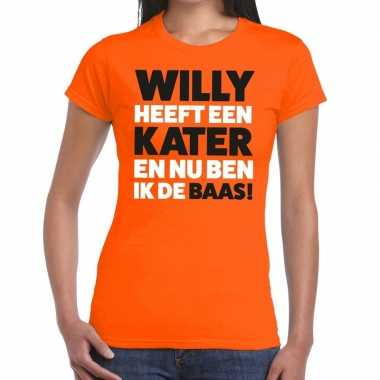 Oranje koningsdag willy heeft een kater t shirt heren