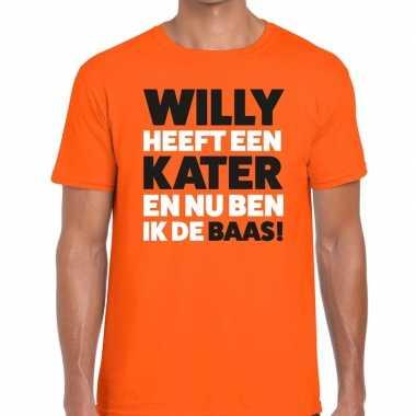 Oranje koningsdag willy heeft een kater t shirt heren